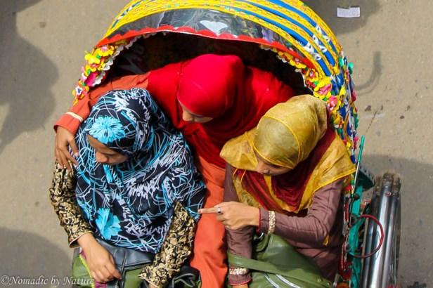 Bird's Eye View of Rickshaw in Dhaka, Bangladesh