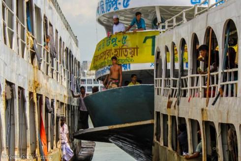 Sadarghat Boat Traffic Jam, Old Dhaka, Bangladesh