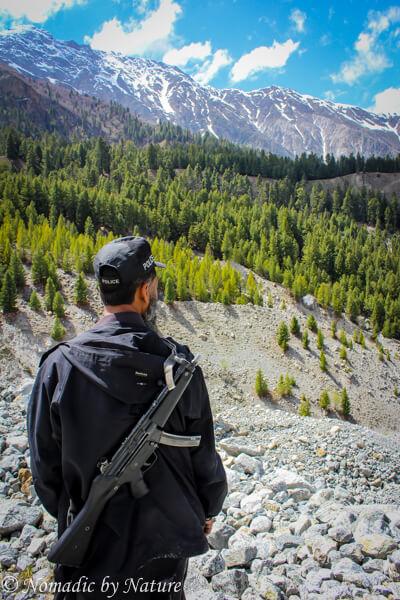 Trekking Guard in Fairy Meadows