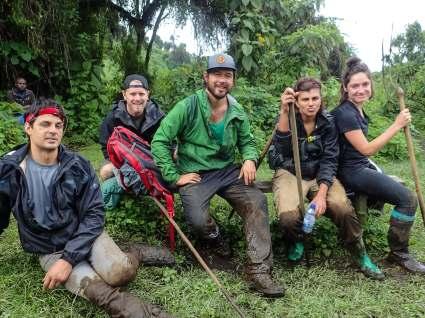 The Summit Team Thoroughly Covered in Mud, Bisoke Volcano, Rwanda
