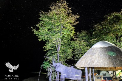 A Ghostly Looking Shot of an Elephant in my Camp under the Stars, Wildlife Camp, Zambia