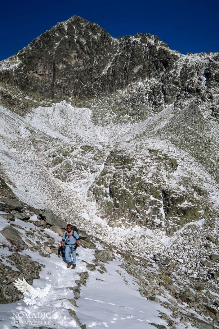 Bay Climbing out of the Teryho chata valley on morning of 2nd day, High Tatras, Slovakia