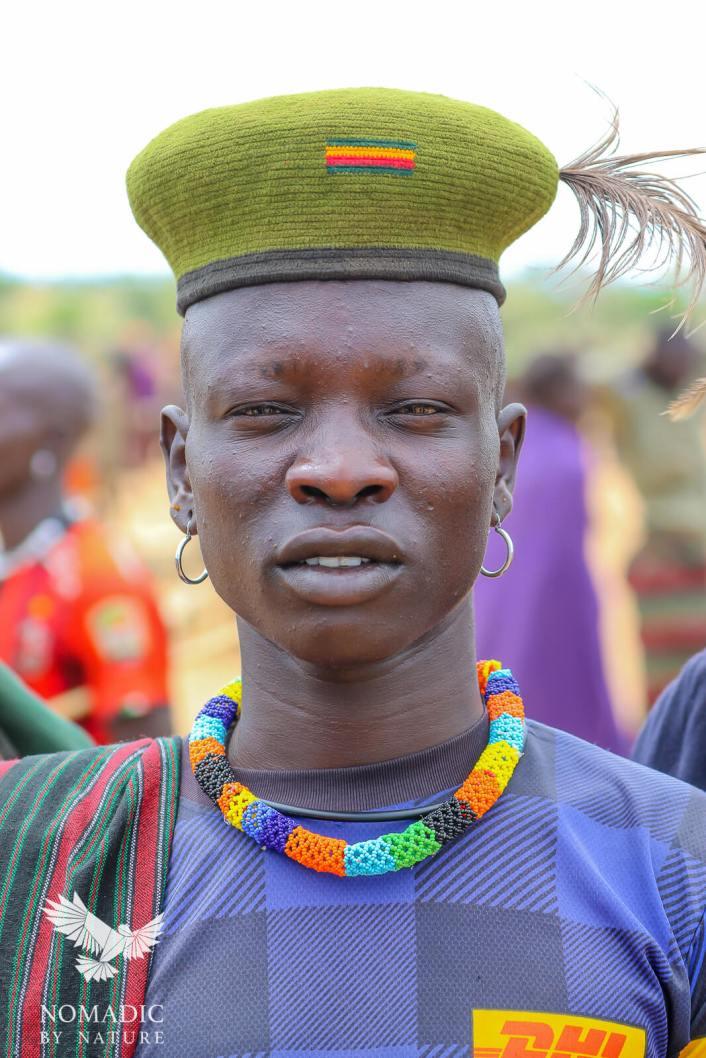 The Traditional Feathered Cap and Beads of the Karamojong, Karamoja, Uganda