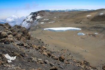 Looking down at Crater Camp from Uhuru Peak, Mount Kilimanjaro, Tanzania