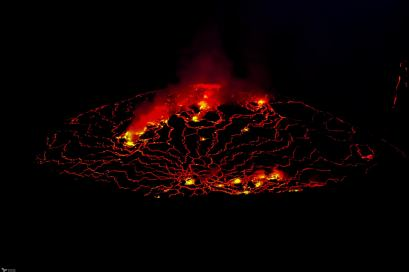Nyiragongo Lava Lake at Night, Virunga National Park, DR Congo