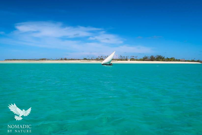 Swahili Dhow Sailing in front of Rolas Island, Quirimbas National Park, Mozambique
