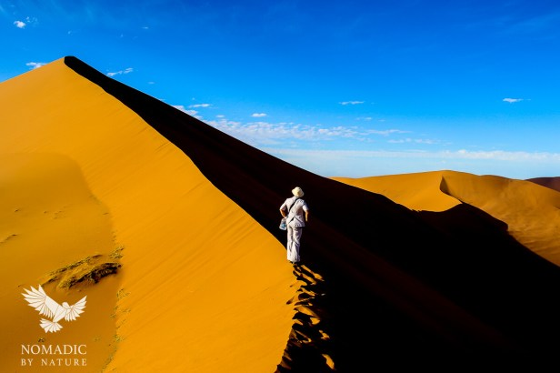 Putting First Tracks on Big Daddy Dune at Dawn, Sossusvlei, Namibia