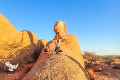 Yoga Headstands at Spitzkoppe, Namibia