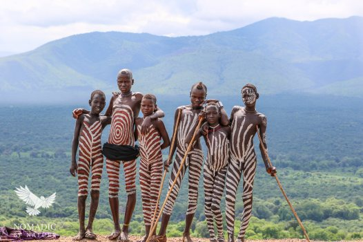 A Bunch of Mursi Boys out Herding Together, Ethiopia