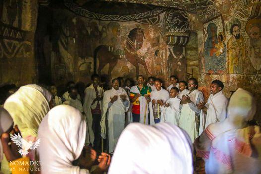 Villagers Praying in Abuna Yemata, Ethiopia