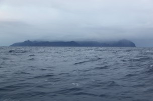Arriving in St Helena on a gray day.