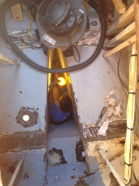 Deep down in the keel pit.