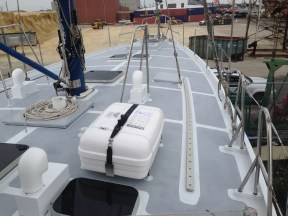 8 man life raft mounted in place.