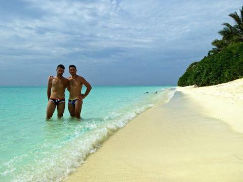 Nomadic Boys on the beach of Thoddoo island