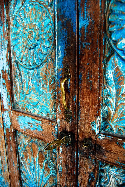 Turquoise Carved Wooden Door