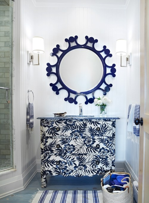 Bathroom with Navy Designed by Anne Hepfer