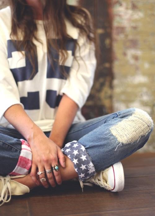 DIY American Flag Jeans Cuffs via Free People