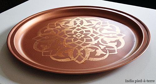 DIY Copper Moroccan Tray with Copper Leaf Stencil
