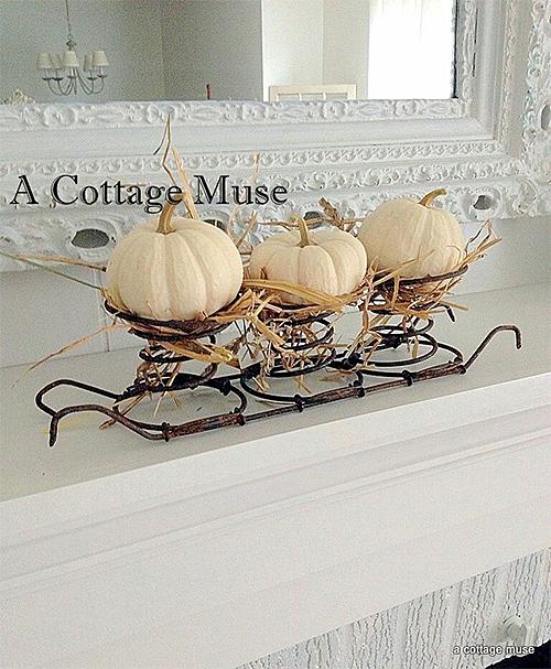 White Pumpkin Display via A Cottage Muse