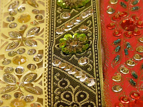 Embroidered and Sequined Trim from India via RibbonsandSilk on Etsy