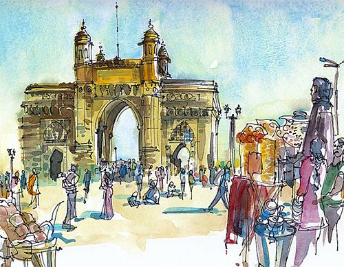 Gateway of India in Mumbai by Suhita of Sketch Away on Etsy