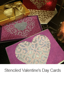 Stenciled Valentine's Day Cards