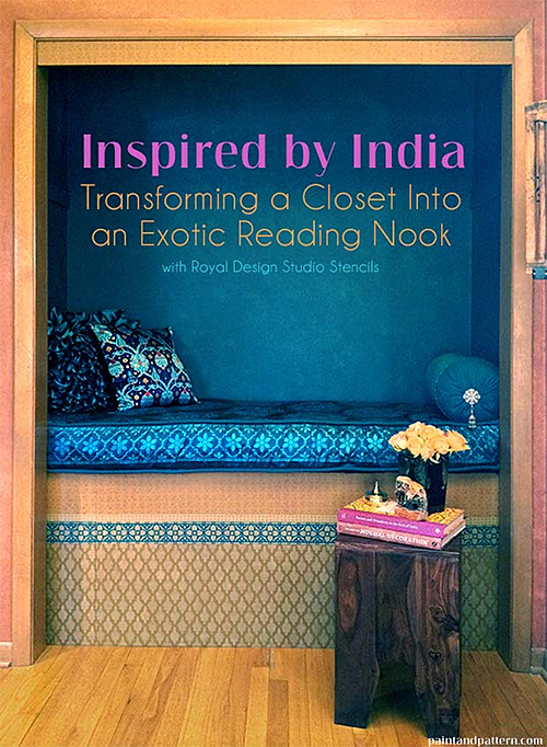 DIY with paint and stencils - an Indian-inspired closet reading nook