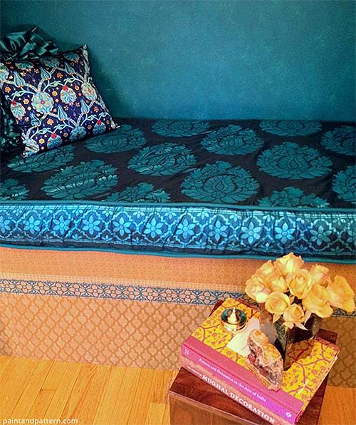 Stenciled Closet Nook with Silk Cushion