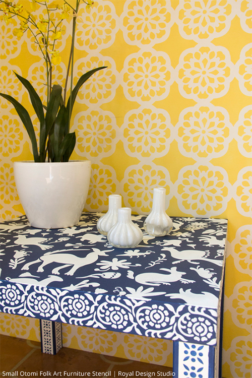 Ikea Table Painted with Otomi Stencil