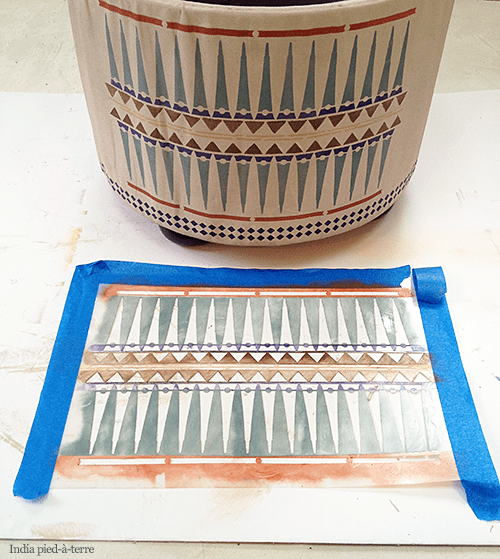 Tribal Stenciled Ottoman Makeover