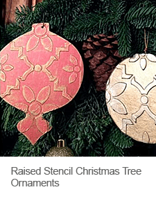 DIY Raised Stencil Christmas Tree Ornaments