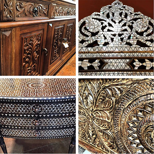 Tierra Del Lagarto Wood Carved and Inlaid Mother of Pearl Furniture