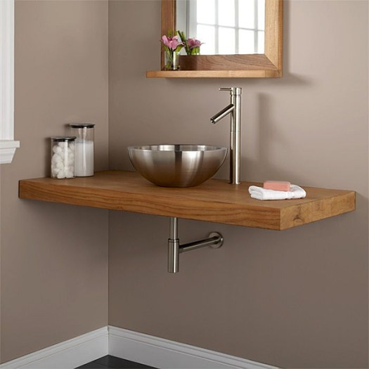 Teak Wall Mounted Sink via Signature Hardware