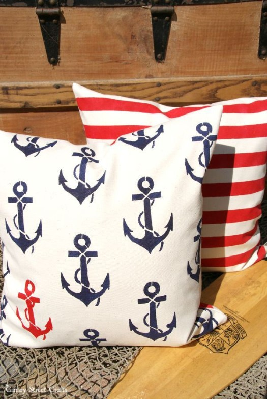 Stenciled PIllows by Canary Street Crafts