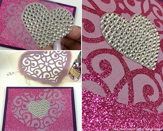Glittery DIY Valentine Day Card
