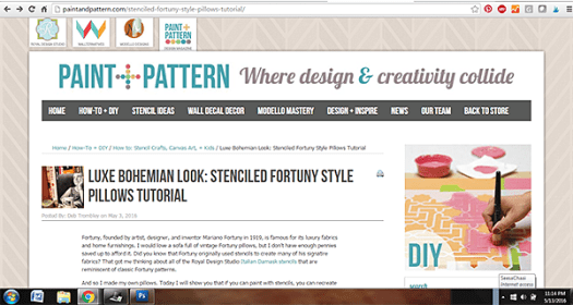 Stenciled Fortuny Pillows Tutorial