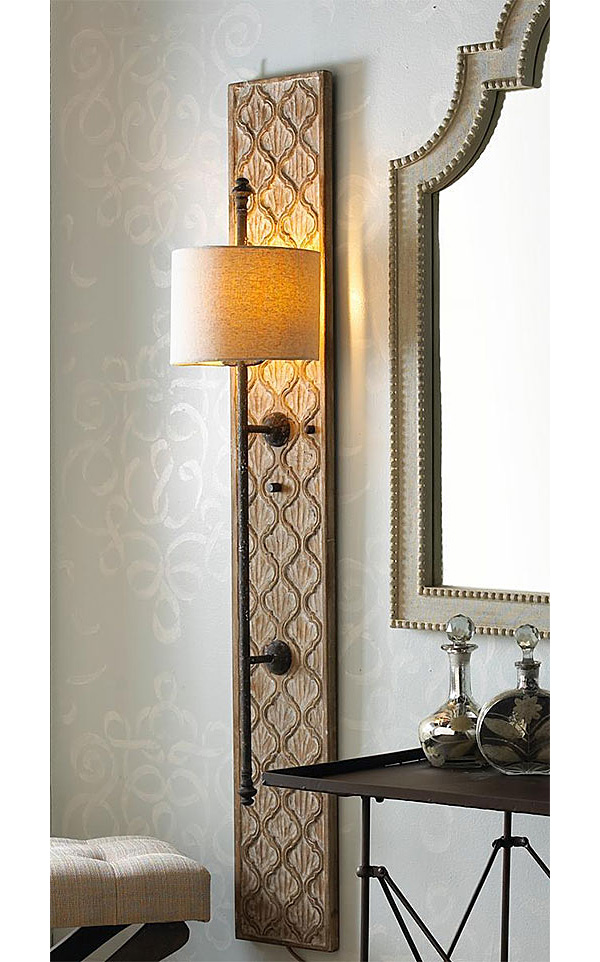 DIY Project: Wood Sconce with Embossed Stenciled Design ... on Wood Wall Sconces id=23975