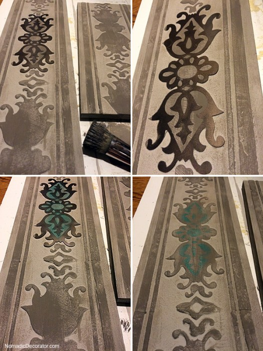 Stenciling on Embossed Wood