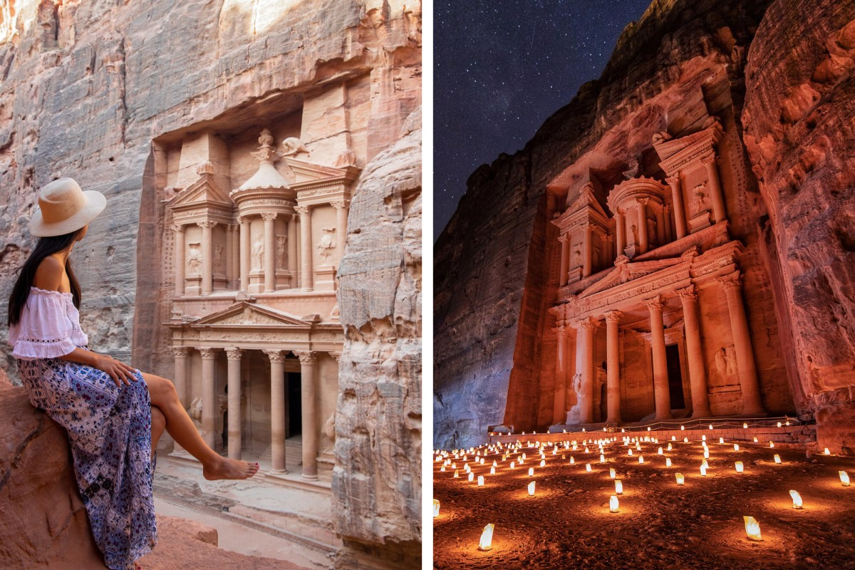 Petra during the day and at night