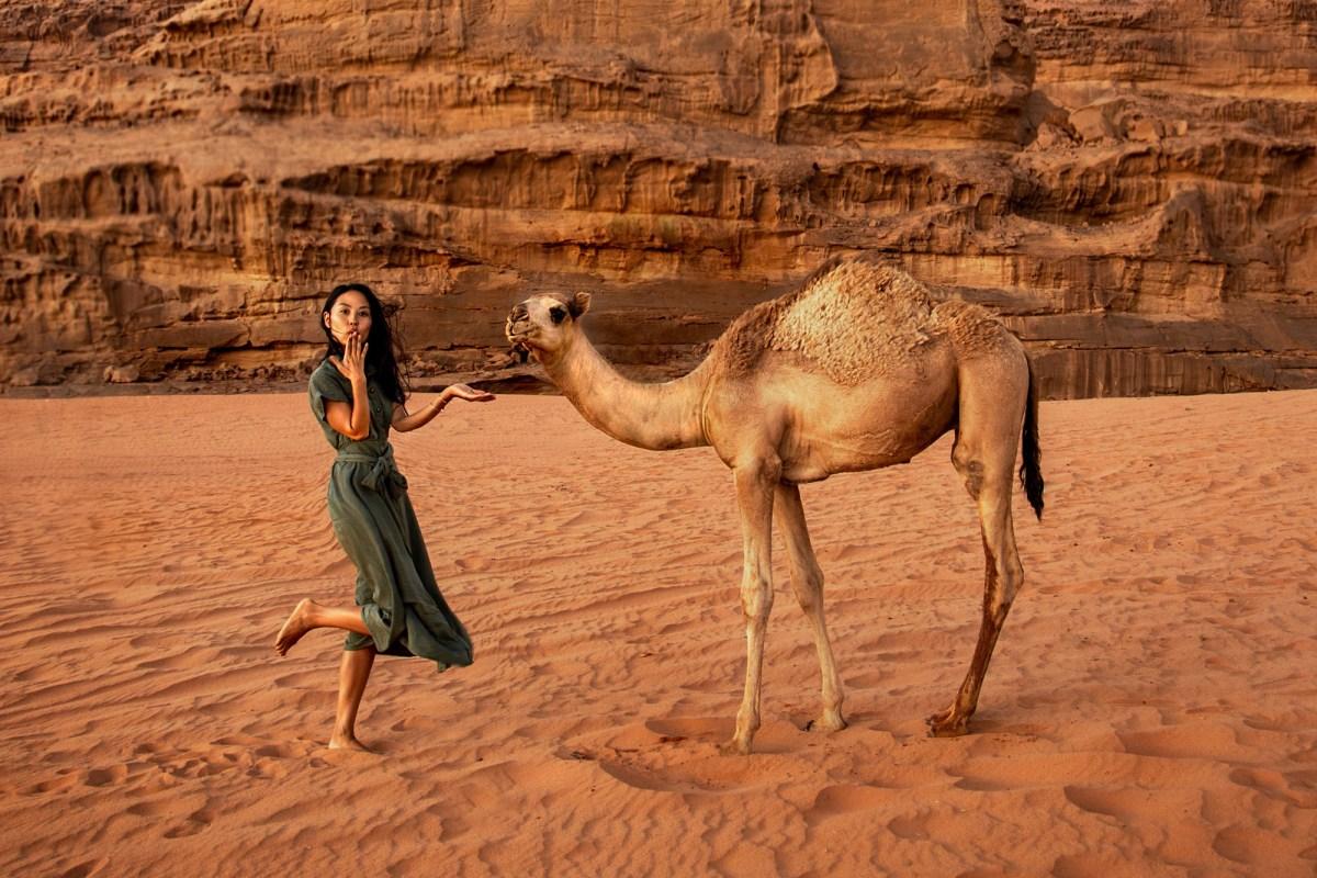 Nomadic Fare and camel in Wadi Rum, Jordan