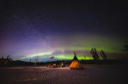 Nomadic Fare in Yukon, Canada with Northern Lights