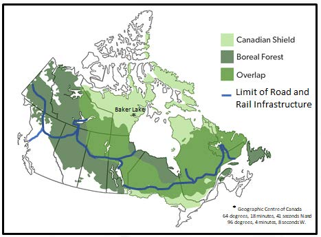 Figure 1: Limit of land based transportation infrastructure in Canada [2]