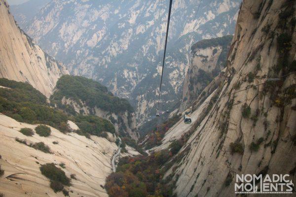 The cableway up Huashan.
