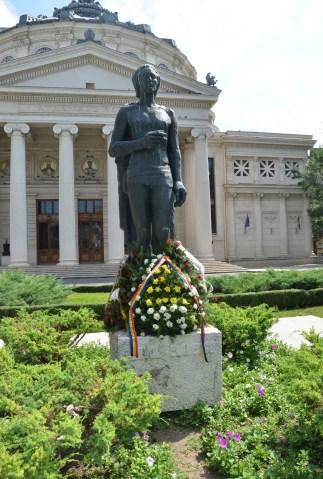Mihai Eminescu statue at the Ateneul Român in Bucharest, Romania