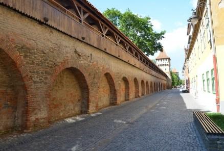 City walls in Sibiu, Romania