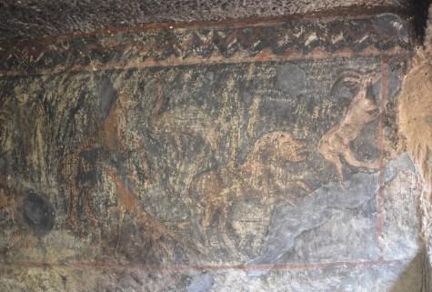 Animal frescoes at Eski Gümüşler Manastırı in Turkey