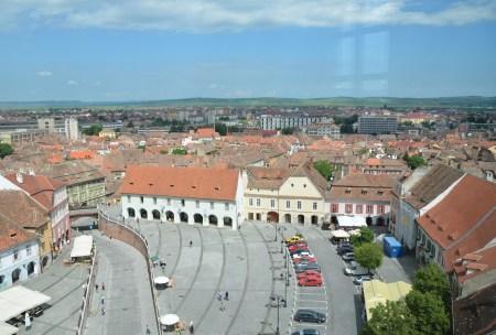 View of Piața Mică from Turnul Sfatului in Sibiu, Romania