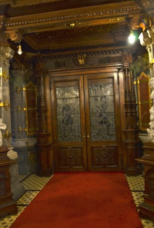Entrance at Peleș Castle in Sinaia, Romania