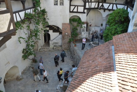 Inner courtyard at Bran Castle in Bran, Romania