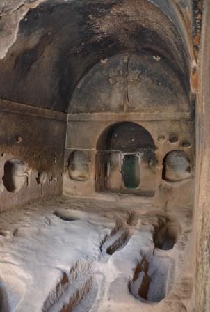 Tombs at Eski Gümüşler Manastırı in Turkey